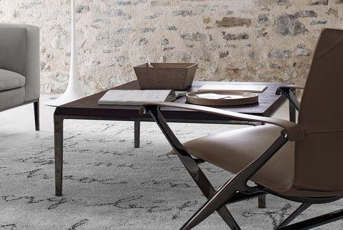 table basse contemporaine / en bois / en MDF / en fonte d'aluminium