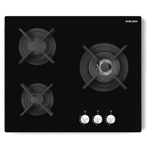 table de cuisson à gaz / en fonte / wok / 3 foyers