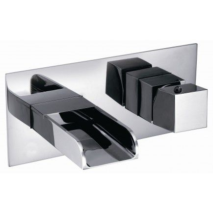 mitigeur pour vasque / mural / en métal / 2 trous