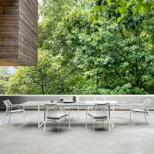 chaise de salle à manger contemporaine / avec accoudoirs / en acier inoxydable laqué / en corde