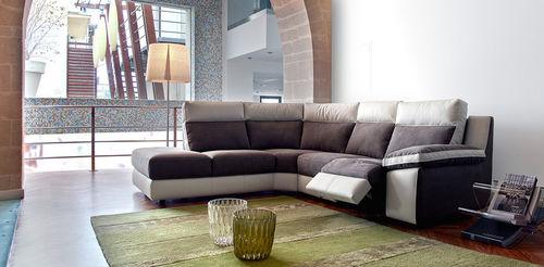 canapé d'angle / contemporain / en cuir / 4 places