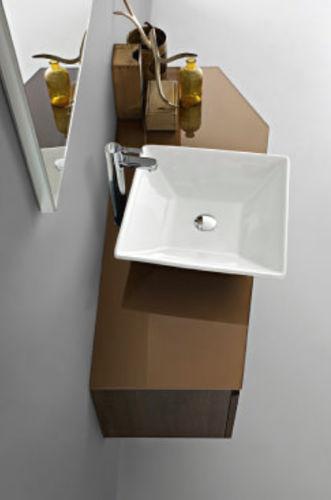 meuble vasque suspendu / en bois / en cristal / contemporain