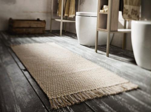 tapis contemporain / uni / rectangulaire / fait main