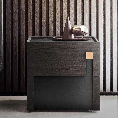 table de chevet contemporaine / en bois laqué / rectangulaire / avec tiroir