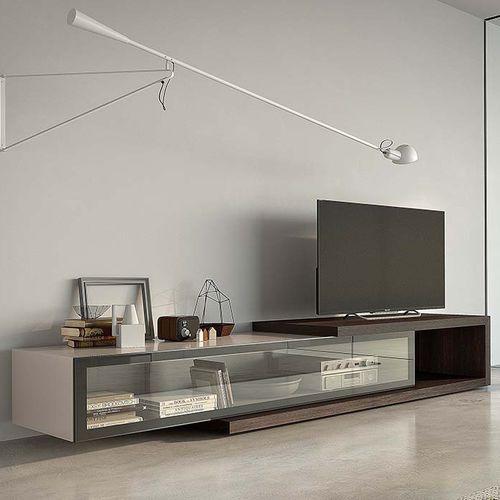 meuble TV contemporain / en bois laqué