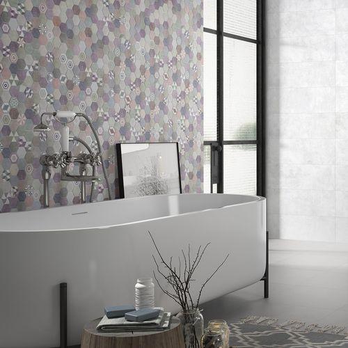 carrelage de salle de bain / mural / en céramique / hexagonal