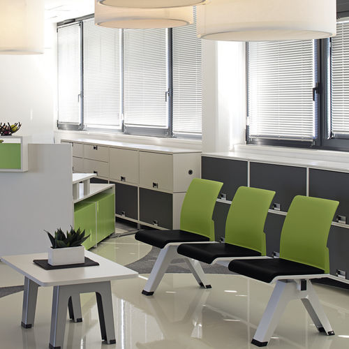 sièges sur poutre en métal / en tissu / en plastique / 3 places