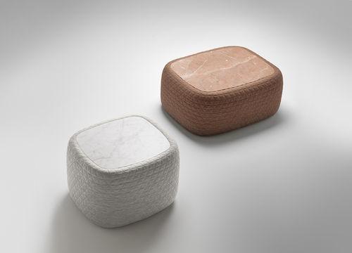 table basse contemporaine / en marbre / en tissu / rectangulaire