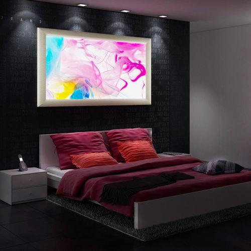panneau décoratif en bois / en cuir / mural / rétroéclairé