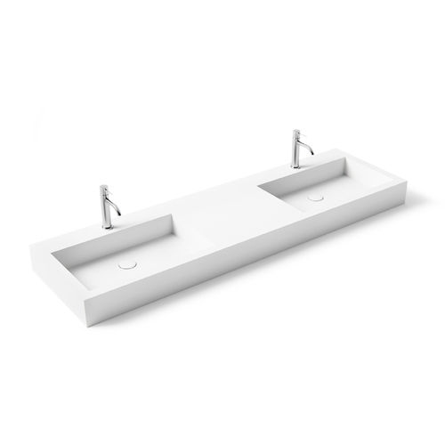 vasque double / suspendue / rectangulaire / en Solid Surface