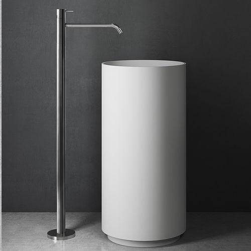 mitigeur pour vasque / au sol / en inox / 1 trou