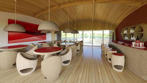 bâtiment flottant / préfabriqué / en aluminium / ossature bois