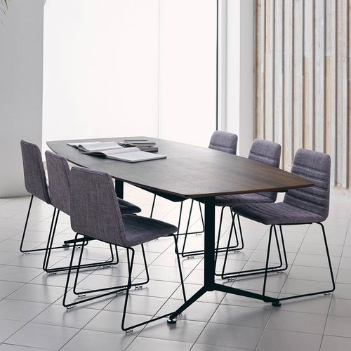 table de conférence contemporaine / en chêne / en stratifié / en métal chromé