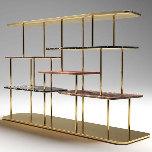 étagère contemporaine / en bois / en laiton / en marbre