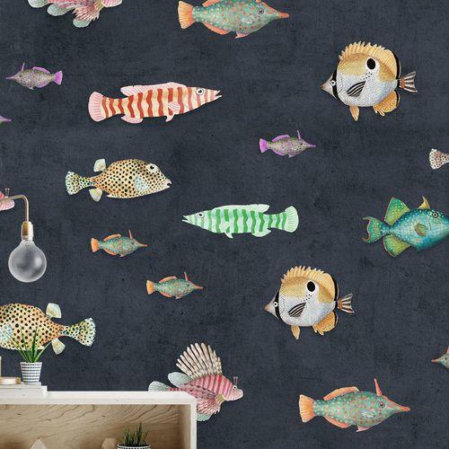 papier peint contemporain / en fibre de cellulose / en fibre naturelle / à motif animalier