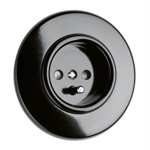 prise de courant / murale / en Bakelite® / noire