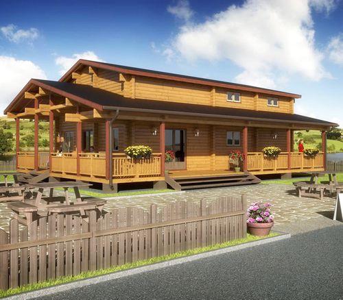 bâtiment préfabriqué / en bois massif / pour installation sportive / pour restaurant