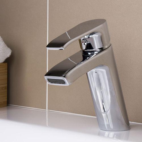 mitigeur pour vasque / en laiton chromé / 1 trou / cascade