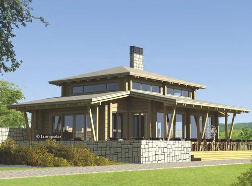 bâtiment préfabriqué / en bois lamellé-collé / pour restaurant / contemporain