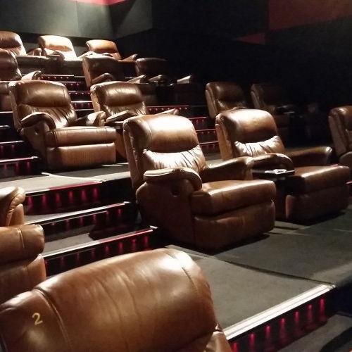 fauteuil de cinéma en cuir / inclinable / marron / professionnel