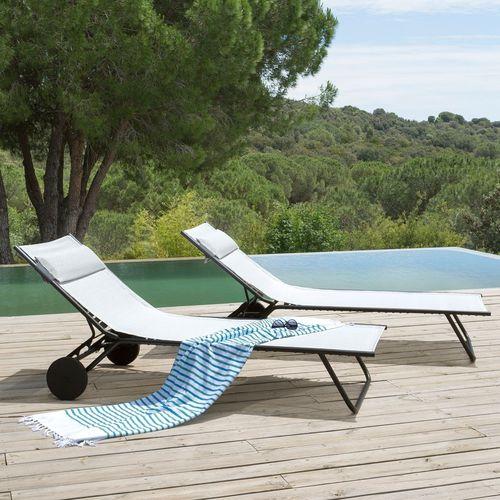 bain de soleil contemporain / en Batyline® / en acier / de piscine