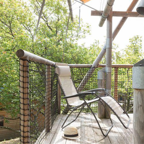 fauteuil contemporain / en Batyline® / en acier / avec repose-pieds