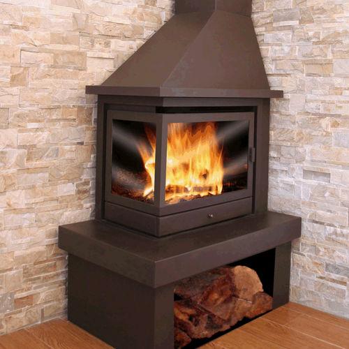 cheminée à bois / contemporaine / à foyer fermé / d'angle