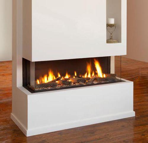 cheminée à gaz / contemporaine / à foyer fermé / à 3 faces