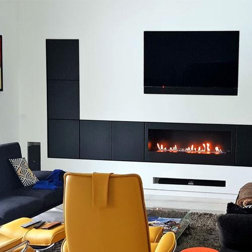 cheminée au bioéthanol / contemporaine / à foyer ouvert / murale