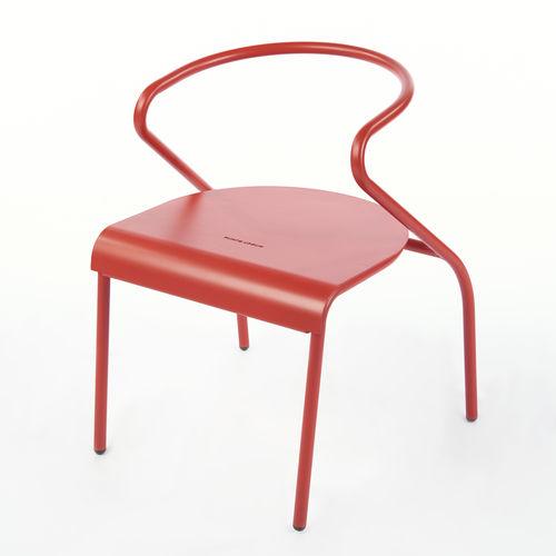 chaise de salle à manger design original / avec accoudoirs / en acier à revêtement par poudre / d'extérieur