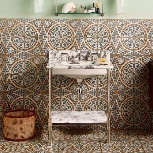 vasque sur pied / rectangulaire / en marbre / en métal