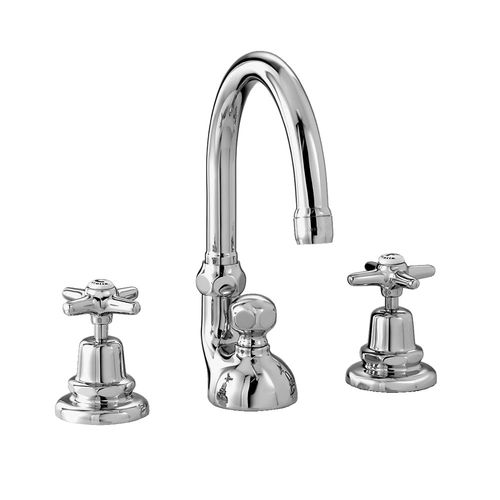 mélangeur pour vasque / à poser / en métal chromé / en bronze