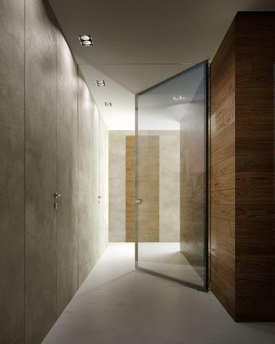 porte d'intérieure / battante / en verre / en métal