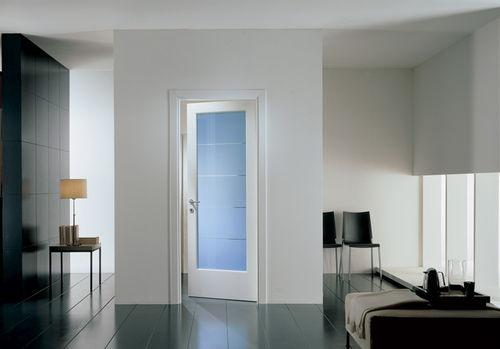 porte d'intérieure / battante / en bois / vitrée