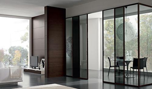 porte d'intérieure / coulissante / en bois / toute hauteur