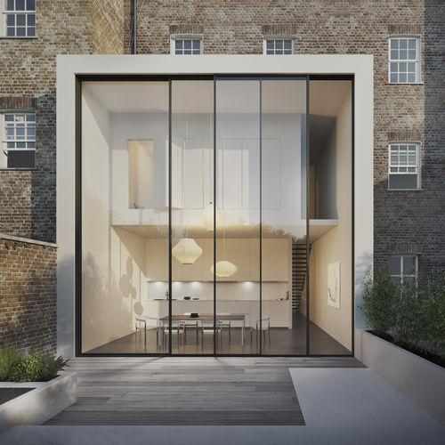 baie vitrée coulissante-empilable / en aluminium / à double vitrage / à triple vitrage