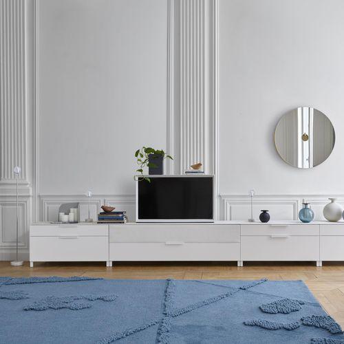 meuble TV contemporain / hi-fi / en cerisier / en bois laqué