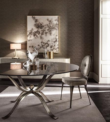 chaise contemporaine / tapissée / médaillon / en tissu
