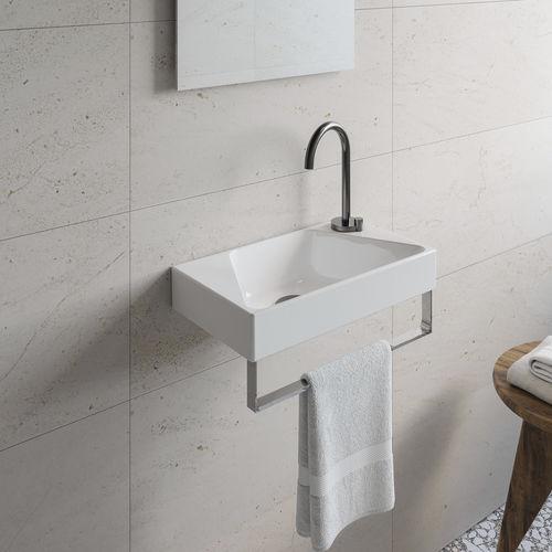 vasque murale / rectangulaire / en céramique / contemporaine