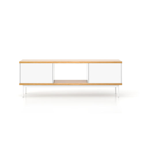 meuble TV contemporain / en chêne / en MDF / en acier