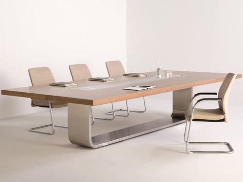 table de conférence contemporaine / en bois / en métal / rectangulaire