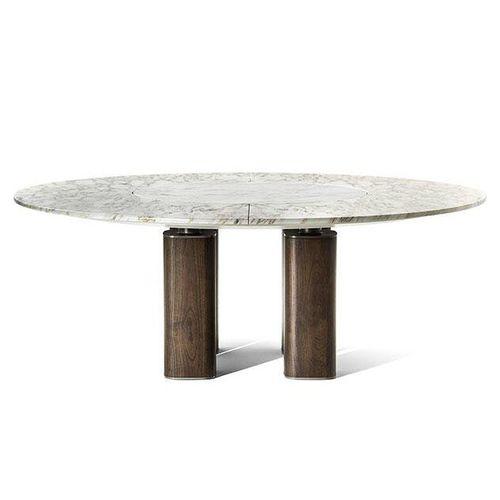 table contemporaine / en acier / en marbre / avec piètement en bois