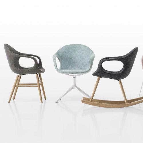 chaise design scandinave / tapissée / avec accoudoirs / luge