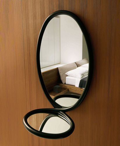 miroir mural / contemporain / ovale / en bois massif