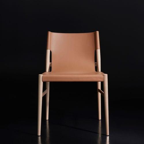 chaise contemporaine / ergonomique / en bois / en cuir