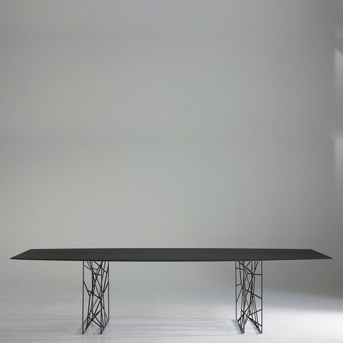 table contemporaine / en chêne / en Hemlock / en verre