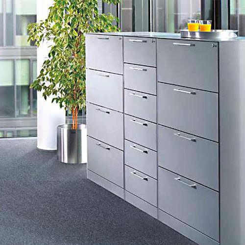 armoire de classement basse / en acier / à tiroirs / contemporaine