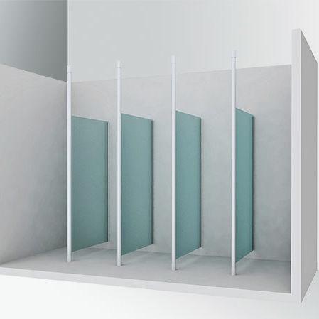 cloison fixe / en verre / pour sanitaires