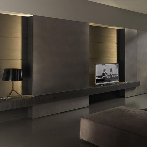 ensemble TV mural contemporain / en bois