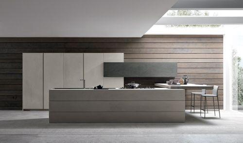 cuisine contemporaine / en bois / en béton / avec îlot